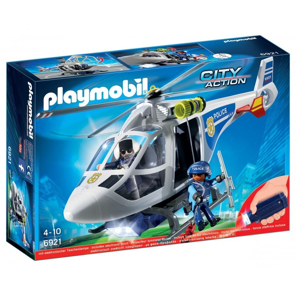 Playmobil 6921 Hélicoptère De Police Avec Projecteur