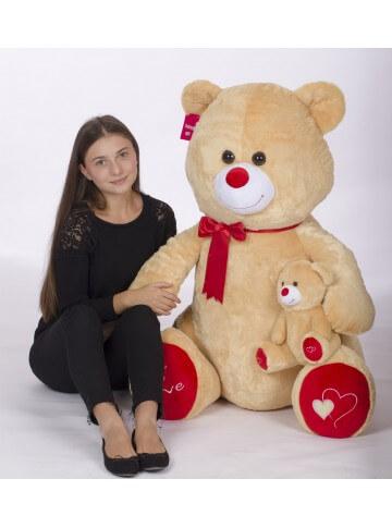 peluche ours  avec bébé 100 cm