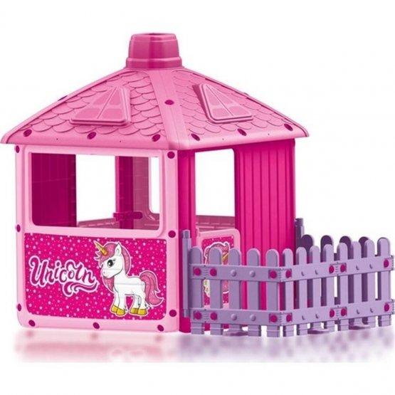 Maisonnette unicorne avec clôture